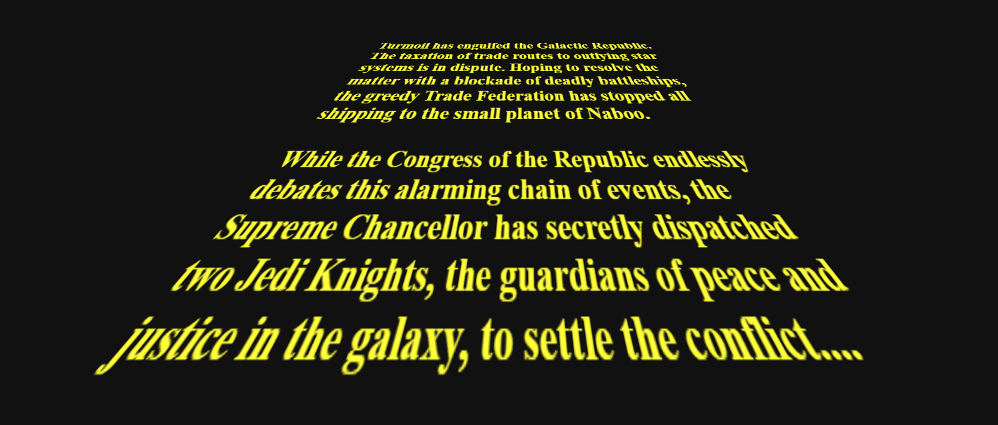 Star Wars Opening Crawl Css Animation And Transformation